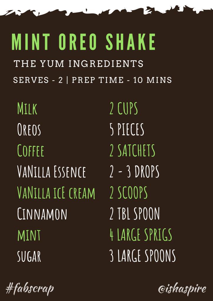 Mint Oreo Shake Recipe Ingredients